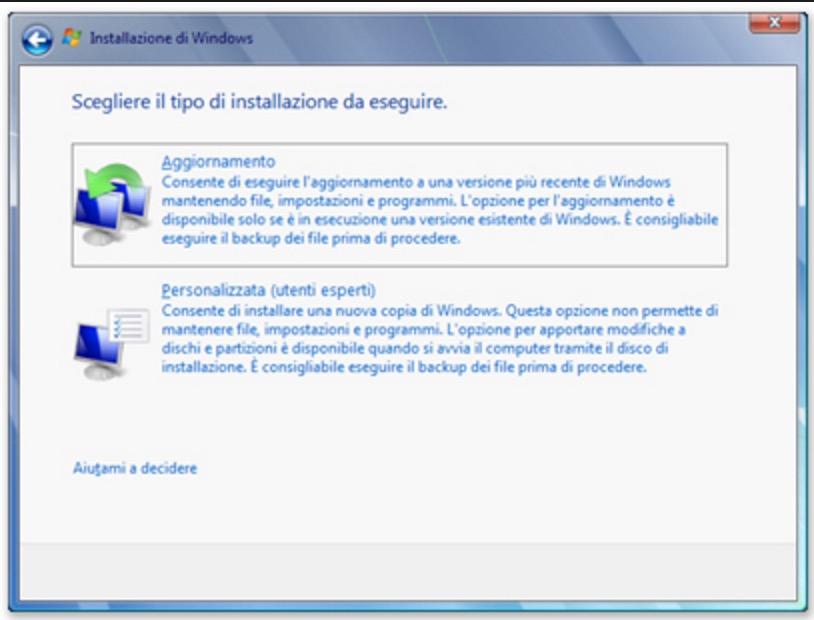formattazione pc con disco windows